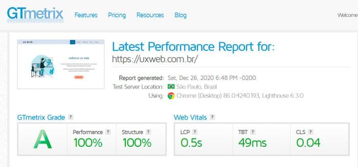 Teste de Velocidade do Site com GT Metrix